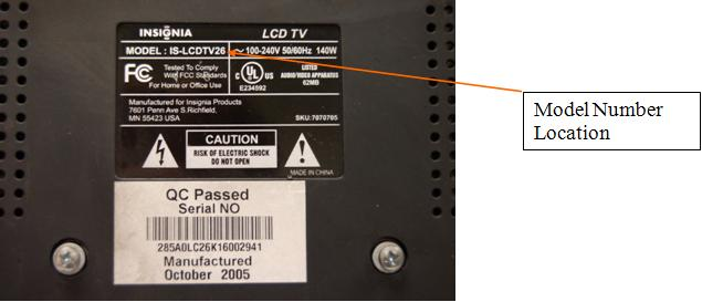 Picture of location of model number on the television